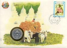 superbe enveloppe LAOS LAO attelage pièce monnaie 20 CENTS 1952 UNC NEW timbre