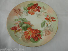 """HAND PAINTED AND ARTIST SIGNED T & V LIMGOES CHARGER 12 1/4"""" , NASTURTIUM FLOWER"""