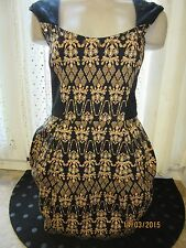BNWT River Island Dress Size 10 £60 Black Gold Studs Chain Gem Print Tulip Party