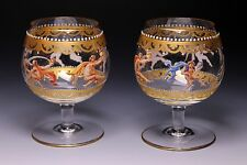 Murano Venetian Salviati Hand Enameled Figural Gold Gilt Small Brandy Snifters A