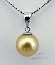 HS Rare Golden South Sea Cultured Pearl 9.26mm 18K White Gold Pendant Top Grade