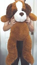 """Kelly Toy Large Plush Brown Pillow Puppy Dog 34"""" Green Eyes Brown Nose Very Soft"""