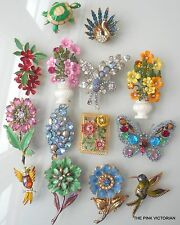 Lovely LOT (14)pc VINTAGE metal ENAMEL rhinestone FLOWER PIN brooch FIGURALS