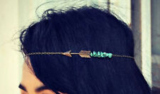 Hippie Retro Turquoise Tassel headband head piece chain elastic hair band (43)