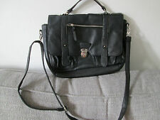 ATMOSPHERE - BLACK SYNTHETIC SHOULDER BRIEFCASE SATCHEL BAG