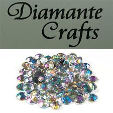 100 x 9mm Clear Iridescent Diamante Loose Flat Back Rhinestone Vajazzle Gems