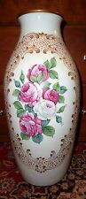 X Large Vintage Rosenthal Germany Kunstabteilung Gilt and Floral Vase 17""