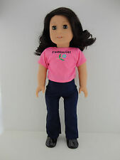 A 2 Pc Outfit Denim Jeans and a Pink T Shirt Designed for 18 Inch Doll Like the