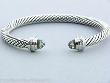 DAVID YURMAN 5MM PRASIOLITE AND DIAMOND CABLE CLASSICS BRACELET NEW
