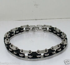 "8"" Mens Flexible Bike Bicycle Chain Style Bracelet Snap Closure Stainless Steel"