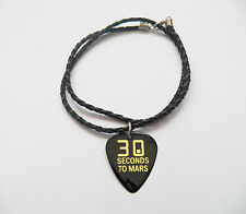 30 SECONDS TO MARS 30STM guitar pick plectrum braided LEATHER NECKLACE 20""