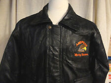 Leather Motorcycle Jacket w/ Harley Davidson Men's Large Napoline Fully Lined