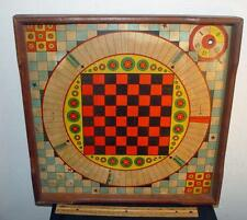 Late 1800s McLoughlin Bros. 2 Sided Board Game Checkers Black Cat Cards Wood !
