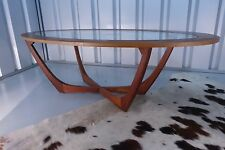 Retro Vintage Mid Century Teak and Afromosia Oval Glass Coffee Table