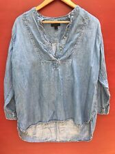 J Crew Chambray Shirt XS Blue Denim Blouse 2 Popover Flowy Tunic Top
