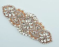 Rose gold Rhinestone Applique-Rose Gold Motif- Rose Gold Bridal Belt -USA SELLER