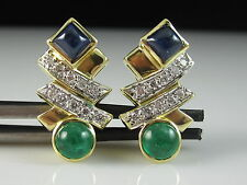 18K Blue Sapphire Emerald Diamond Earrings Cabochon by CASSIS Omega Fine $3995