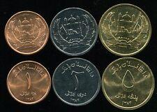 AFGHANISTAN SET 3 COINS 1 2 5 AFGHANIS UNC