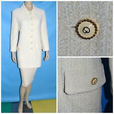 St John Collection Off White Ivory Jacket L 10 12 Coat Dress Gold Button Shimmer