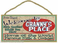 """Welcome to Granny's Place 5""""x10"""" Grandmother Sign Plaque"""