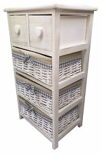 Shabby Chic Maize Basket 4 Tier Bedside Unit Table Storage Bathroom Bedroom