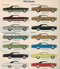 1970 Chrysler NEW YORKER/NEWPORT Custom/300/Town&Country Brochure w/Color Chart