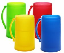 Double Wall Color Frosty Freezer Mugs 14oz Set of Four Assorted Colors (Red B...