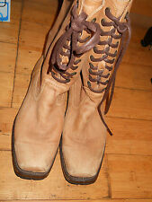 Women's Frye mid height leather western  boots lace up, size 8.5B