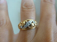 Antique 18k yellow white gold diamond flower leaf wide band ring wedding Deco