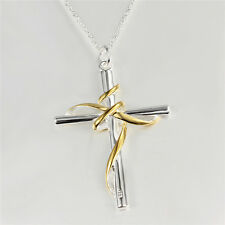 Unisex Men 925 Silver Plated Cross of Jesus Christ  Necklace Pendant  NF