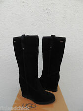 UGG TALL SOLEIL BLACK OILED SUEDE/ SHEEPSKIN WEDGE BOOTS, US 9/ EUR 40 ~NEW