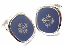 Authentic! PATEK PHILIPPE 18k Gold Ellipse Calatrava Blue Enamel Large Cufflinks