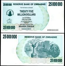 ZIMBABWE  25 MILLION DOLLARS 2008 P 56  BEARER CHEQUE UNC
