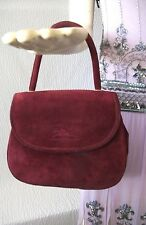 Vintage Longchamp Paris Burgundy Suede Kelly Style Handbag