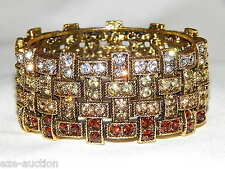 GOLD BROWN RHINESTONE CRYSTAL HINGE BRACELET / BANGLE / CUFF