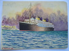 1938 ORIGINAL WATERCOLOUR PAINTING OF A WHITE STAR LINER BY E.DUTTON