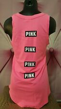 Victorias Secret PINK Tank Top Crew Neck Front Back Graphic Neon S Small