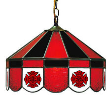 Fire Department Stained Glass Poker Table Light Fixture