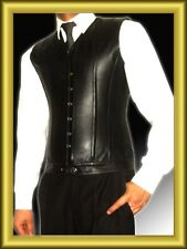 Fashio Style Men Black Pure Nappa LEATHER Steel Boned Victorian Corset Steampunk