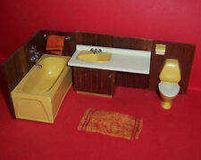 VINTAGE LUNDBY DOLLS HOUSE 1960's EARLY WOOD PANEL BATHROOM SUITE