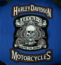 Harley Davidson 11.5'' by 3.5'' Rockers W/ Lucky 7  LG. 10.5'' by 10'' Patch