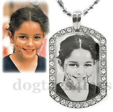 Custom Photo & Text Mini Bling Cubic Dogtag Pendant Necklace + Free Engraving