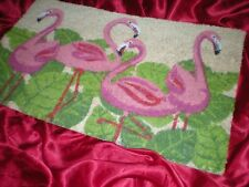 TROPICAL PINK CHATTY FLAMINGOS WELCOME FLAMINGO COIR DOOR MAT RUG
