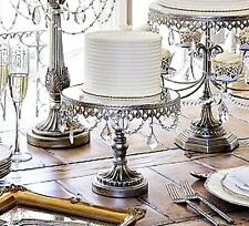"Silver Pedestal Cake Stand Beaded 10"" Antique Vintage Style Wedding Party Buffet"