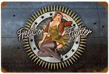 Lethal Threat Pin Up Girl Military Freedom Fighter Metal Sign Man Cave LETH073