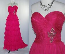 Pink Rows of Ruffles Strapless Beaded Waist Drag Queen Show Maxi Dress L XL