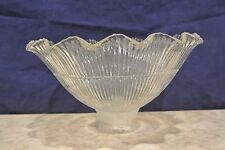 Vintage Holophane Ribbed & Ruffled Clear Glass Shade