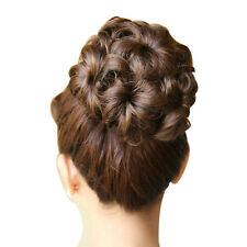 W6 Wavy Curly Synthetic Bun Cover Hairpiece Clip in Hair Extensions