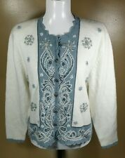 Koret Blue and White Snowflakes Christmas Cardigan Sweater Sz M