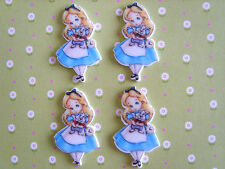4 x Alice in Wonderland Flatback Planar Resin, Embellishment, Crafts, Hair bow